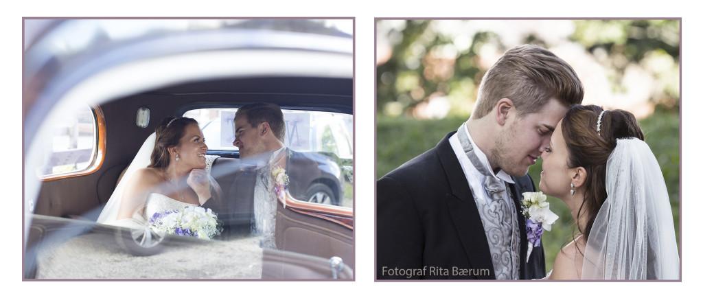 Bildet i Bryllupstips fra bryllupsfotografen - brudeparet i bil