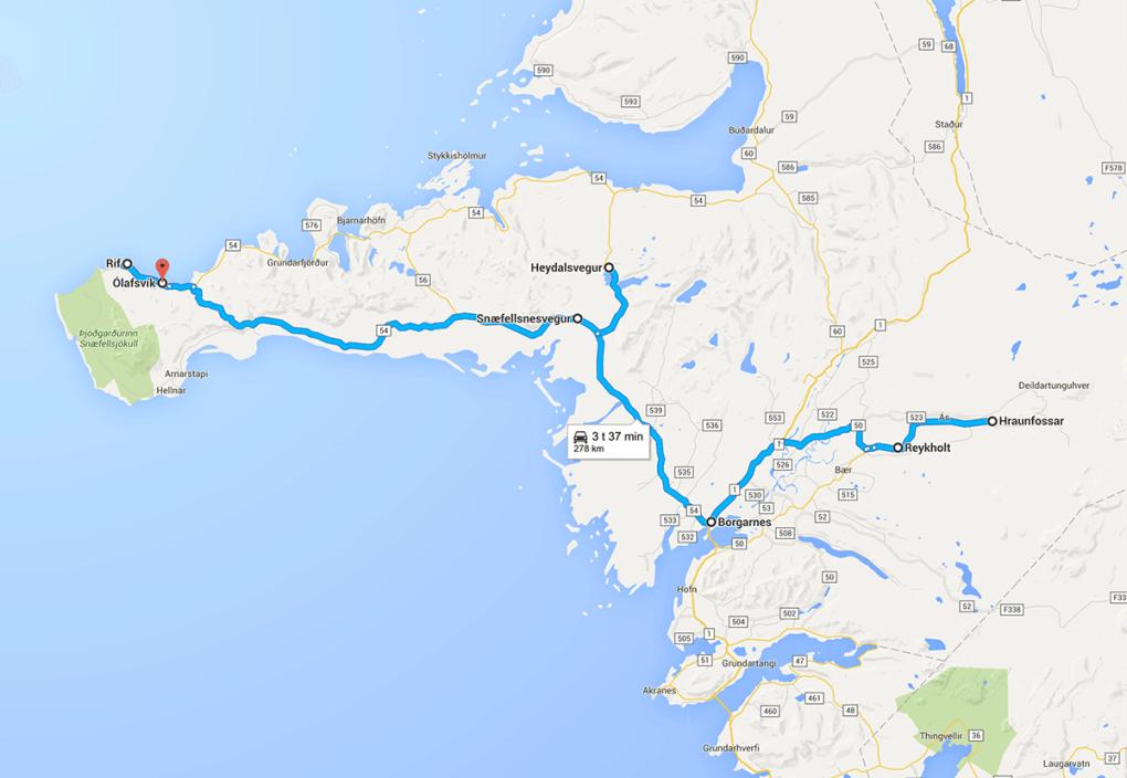 Fototur til Island. Kart over reiserute dag 2.