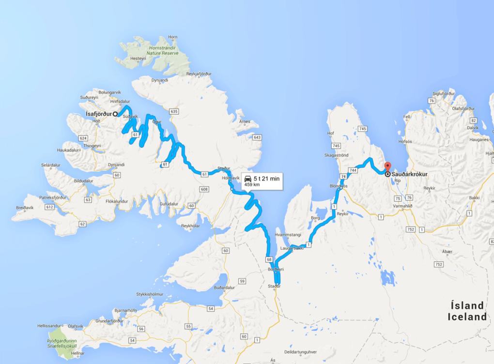 Kart over reiseruten på Island - dag 4