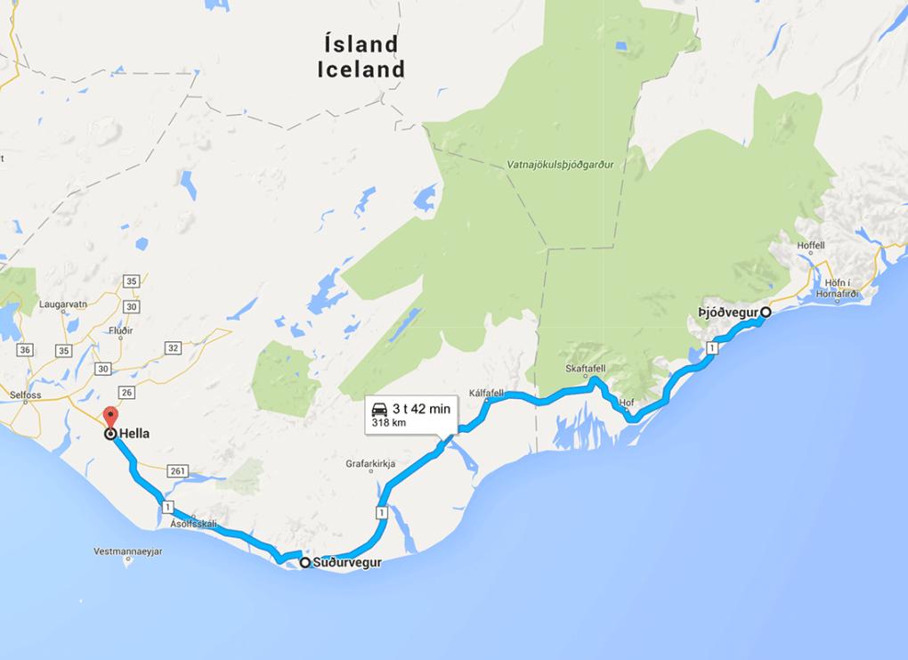 Fototur til Island. Kart fra rundreise dag 9