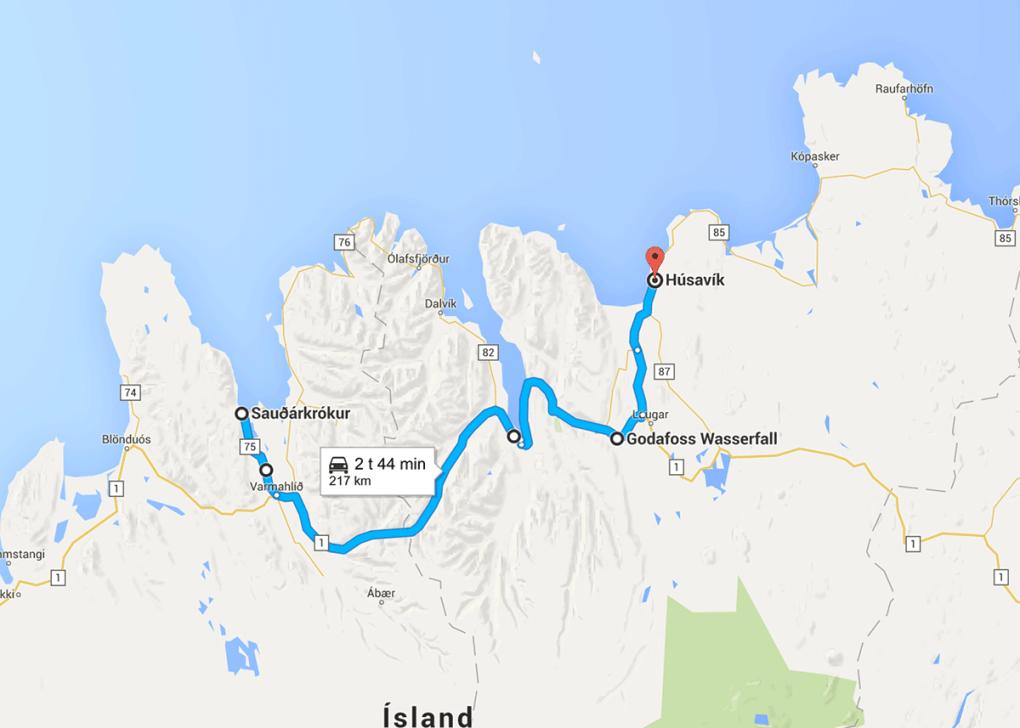 Kart over reiseruten på Island - dag 5