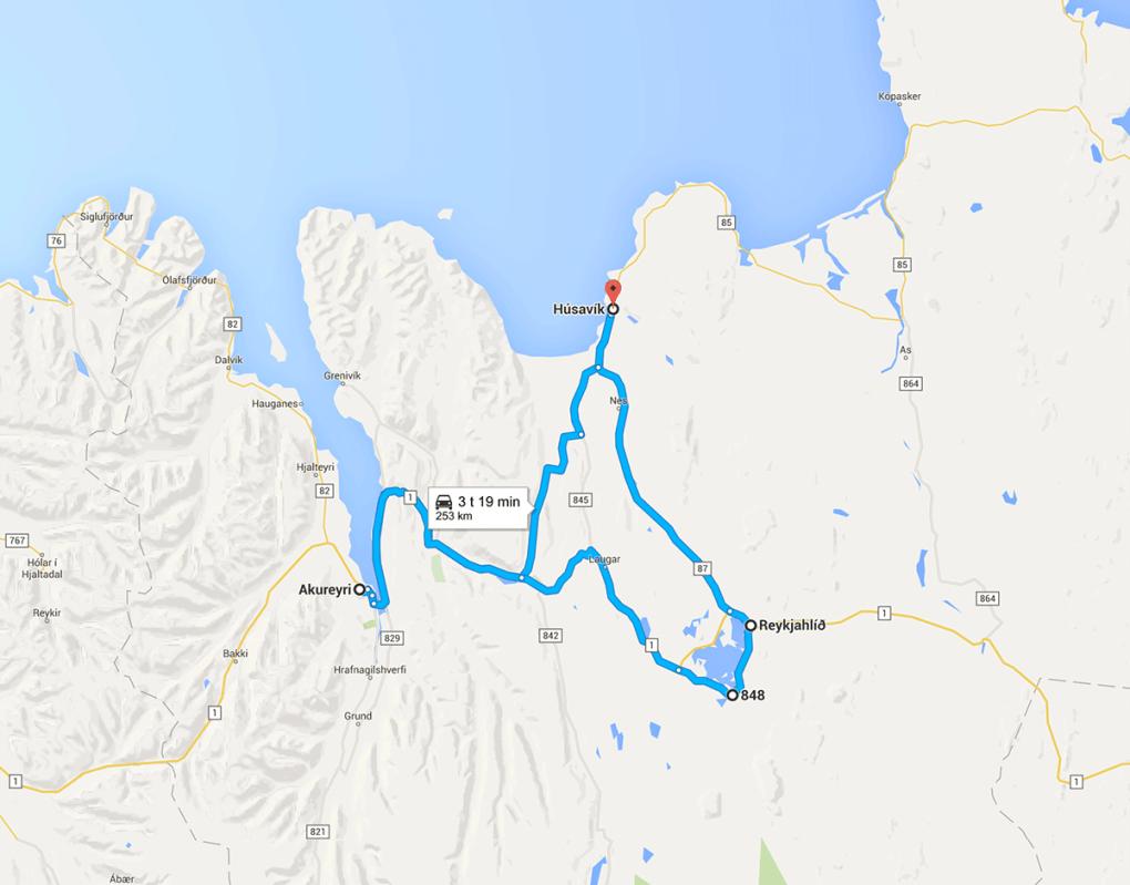 Kart over reiseruten på Island - dag 6