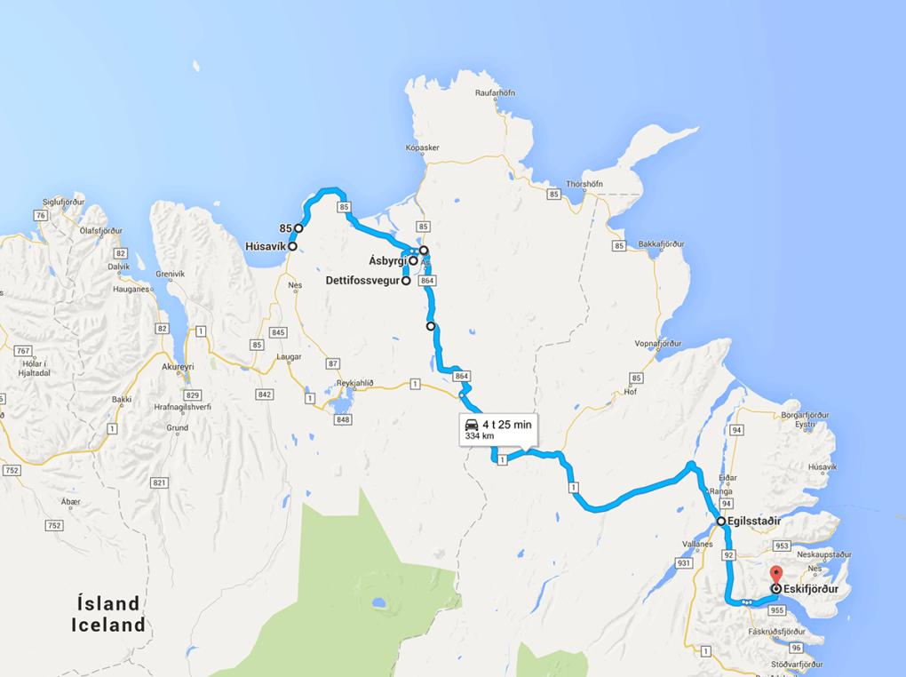 Fototur til Island. Kart over reiseruten dag 7