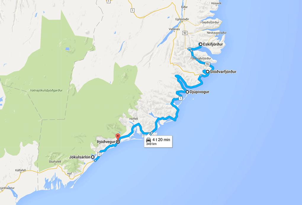 Fototur til Island. Kart over reiseruten dag 8